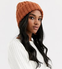 Accessorize Bea Camel Tan Chunky Turnup Beanie Hat