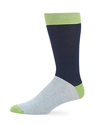 Saks Fifth Avenue Colorblock Cotton Blend Socks Green