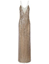 Galvan Moonlight Sequin Crossback Gown Silver