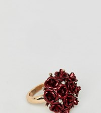 Aldo Metal Floral Statement Ring Red And Clear Gold