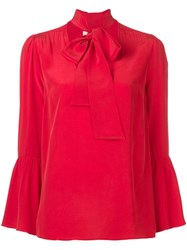 Michael Michael Kors Pussy Bow Blouse Red