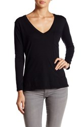 Candc California Mina Long Sleeve Deep V Neck Pocket Tee Black