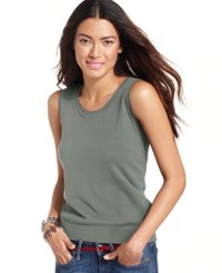 August Silk Sleeveless Silk Blend Scoop Neck Shell Gunmetal Grey