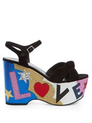 Saint Laurent Candy Love Applique Suede Platform Sandals Black Multi