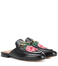 Gucci Princetown Leather Slippers With Embroidered Applique Black