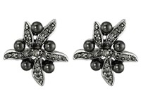 Oscar De La Renta Flower Pearl Button Earrings Black Diamond Silver Earring