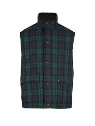 Burberry Reversible Tartan Quilted Cotton Gilet Green Multi