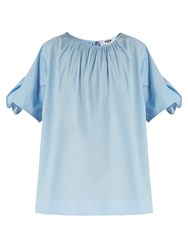 Msgm Gathered Neck Cotton Poplin Top Light Blue