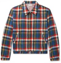 Thom Browne Checked Wool Blend Blouson Jacket Red