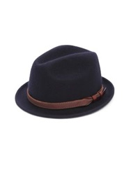 Saks Fifth Avenue Leather Banded Wool Fedora Grey Navy