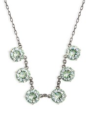 Bottega Veneta Cubic Zirconia And Oxidised Silver Necklace Green