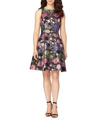 Tahari By Arthur S. Levine Petite Multi Color Floral Jacquard Fit And Flare Dress Navy Pink
