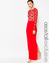 Asos Tall Soft Lace Top Maxi Dress Red