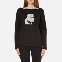 Karl Lagerfeld Women's Sparkle Head Sweatshirt Black