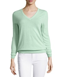Equipment Cecile Lightweight V Neck Sweater Cucumber