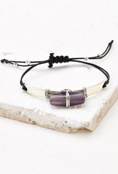 Forever 21 Wire Wrapped Faux Stone Bracelet Silver Purple