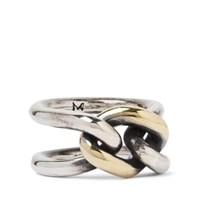 M.Cohen Chain Link 18 Karat Gold And Sterling Silver Ring Silver