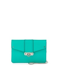 Milly Bryant Leather Flap Top Crossbody Bag Turquoise