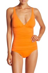 Tommy Bahama Ruched Triangle Top One Piece Swimsuit Orange