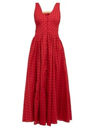Cult Gaia Angela Buckled Broderie Anglaise Cotton Dress Dark Red