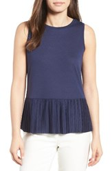 Halogenr Women's Halogen Pleat Peplum Tank Navy Peacoat
