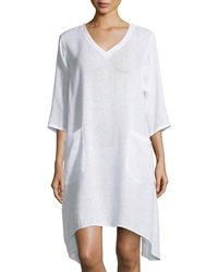 Lafayette 148 New York Linen V Neck 3 4 Sleeve Tunic White