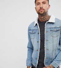 Liquor N Poker Borg Lined Collar Denim Jacket In Stone Wash Blue