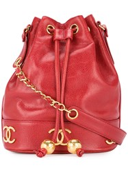 Chanel Vintage Logo Drawstring Shoulder Bag Red