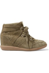 Isabel Marant The Bobby Perforated Suede Wedge Sneakers Army Green