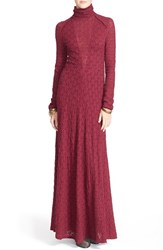 Women's Free People Floral Lace Turtleneck Maxi Dress Beet Root
