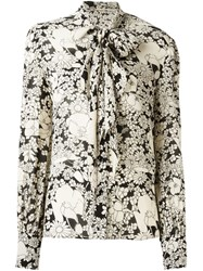 Saint Laurent Flower Print Pussybow Blouse Nude And Neutrals