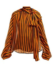 Petar Petrov Bride Striped Silk Pussybow Blouse Black Orange