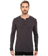 Michael Stars Long Sleeve Henley Oxide Men's Clothing Blue