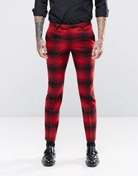 Noose And Monkey Skinny Suit Trousers In Ombre Check Red