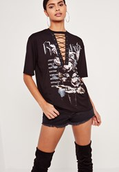 Missguided Graphic Rose Lace Up T Shirt Black