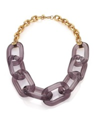 Kenneth Jay Lane Translucent Link Statement Necklace Gold Purple
