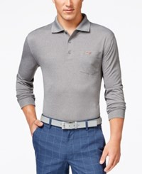 Greg Norman For Tasso Elba 5 Iron Long Sleeve Performance Golf Polo Only At Macy's Medium Grey Heather