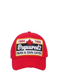 Dsquared Patch Cotton Canvas Baseball Hat Red