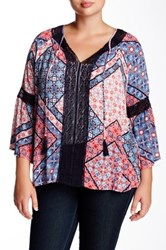 Jessica Simpson Alaya Printed Peasant Blouse Plus Size Multi