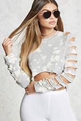 Forever 21 Bleach Dye Destroyed Sweater Heather Grey