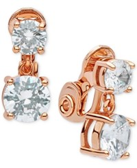 Anne Klein Double Crystal Clip On Earrings Rose Gold