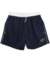 Hackett Navy Swim Shorts With White Waistband And Aston Martin On Back Pockets