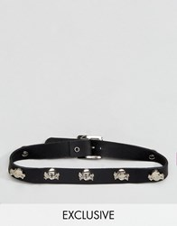 Reclaimed Vintage Inspired Choker In Leather With Skulls Black