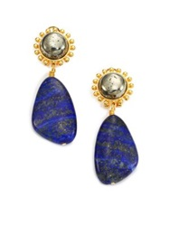 Nest Lapis Lazuli And Pyrite Drop Earrings Gold Lapis