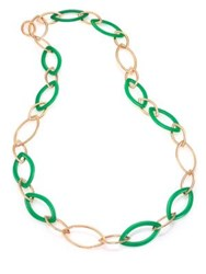 Vhernier Pop Chrysoprase And 18K Rose Gold Marquis Chain Necklace Rose Gold Green