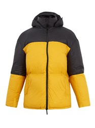 Raey Contrast Panel Quilted Down Jacket Black Yellow