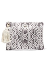 Melissa Odabash Myknos Printed Cotton Canvas Clutch Mushroom
