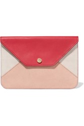 Maje Paneled Textured Leather And Suede Clutch Bubblegum