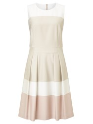Hugo Boss Boss Sleeveless Block Stripe Dress Beige