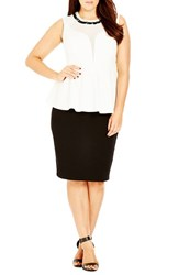 Plus Size Women's City Chic 'Cage' Beaded Peplum Top